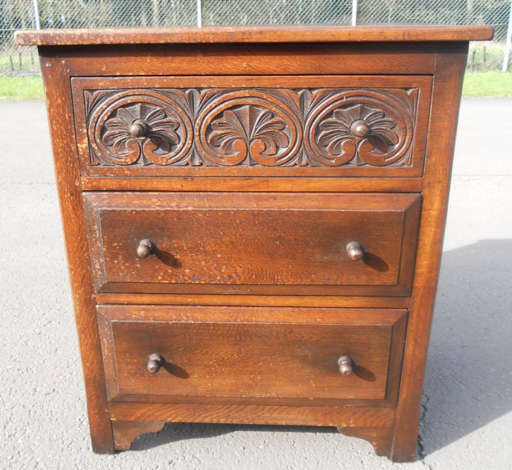Carved Oak Small Chest of Drawers by Bevan Funnell